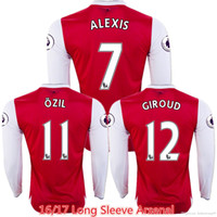 arsenal full kit - 2016 Long Sleeve The Gunners Jersey Football Kits Home OZIL WILSHERE RAMSEY ALEXIS GIROUD Welbeck Red Arsenal Jersey Rugby Full Shirt