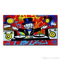 Высокое качество подлинной ручной росписью Wall Decor Alec монополии поп-арт масляной живописи на холсте, музыка Alec монополии граффити мр brainwashart