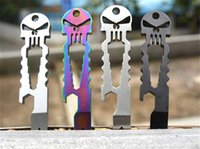 Wholesale E Tactical Punisher Skull EDC Tool EDC fast open gear stainless steel pocket multi functional tool Keychain stick screwdriver crowbar ca