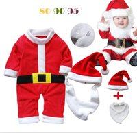 beard hat for kids - Hot baby boys girls Clothing Sets kids wear suits Christmas Santa Cosplay clothes hat beard pieces for autumn fall winter