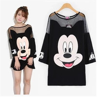Wholesale 2016 summer women net yarn splicing long t shirt sexy loose Mickey cartoon t shirts three quarter sleeve tshirt female