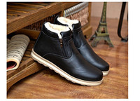 add boot - Winter men s snow boots Warm boots Suede leather shoes Middle boot Casual shoes Thickening adding cotton Men s Shoes