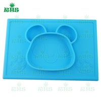 baby custom shapes - Custom one piece baby silicone placemat for kids children bear shape silicone kid plate food bowl meal mat for baby