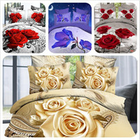 Wholesale Hot Reactive printed bed set d bedding set linen cotton bedclothes duvet cover pillowcase rose coverlet