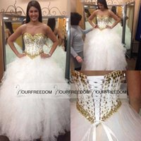 Wholesale Sparkly White and Gold Quinceanera Dresses Basque Waist Sweetheart Beaded Crystals Sweet Ball Gown Corset Back Prom Pageant Gowns