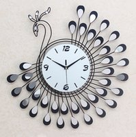 Wholesale 1pcs Fashion peacock wrought iron set auger wall clock Bedroom super mute wall clock Modern creative quartz clock