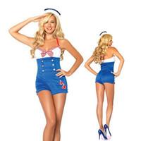 adult sailor suit - New Sexy Adult Halloween Export Game Uniform Suspender Sailor Suit Blue and White Women Navy Costumes Masquerade Disfraces