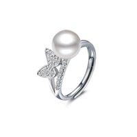 Anneau en argent massif ouvert, anneau en argent papillon pour femmes, anneau en argent perlé - RS03805