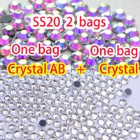 Wholesale bags Crystal AB Crystal DMC Flatback Strass Crystal Hot Fix Rhinestones SS20 MM for DIY Garments Dress