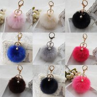 Wholesale 8CM Fluffy Ball Keychain Cute Simulation Rabbit Fur Ball Key Chain For Car Key Ring Car Ornaments Bag Pendant key ring
