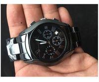 best ceramic watches - luxury Mens Ceramic Black Chronograph Dial Quartz Watch AR1400 Gents Wristwatch Gift Box Best Quality
