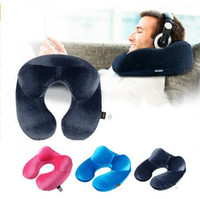 airplane cushion - Inflatable Travel Pillow U Shaped Pillow Neck Support Cushion Sleeping For Travelling Airplane Bus Train Car Home Office Use New