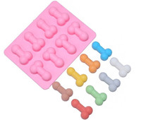 Wholesale 50PCS Sexy Penis Soap Ice Cube Tray Mold Silicone Chocolate Biscuit Cake Candy Baking Cup Moulds Adult Party Supplies Funny Gift
