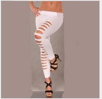 Wholesale 2016 New fashion Women s Sexy Hot Hole Skinny Candy Color Stretchy Pants Soft Leggings Tights AA066