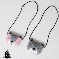 bear coin purse - 10pcs Gray Pink Bear Girls Coin Purse Handmade Baby Small Bag Kids Messenger Bag Cute Small Bag