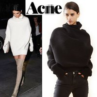 Wholesale acne oversize pullovers Woman loose sweaters wool cashmere big size Batwing Sleeve Turtleneck Thick Pullover Femme mujer