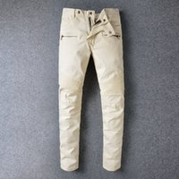 apricot jeans - Designer Brand New Men Apricot Balmai jeans Skinny Ripped Slim balmaied jeans for men Fashion Man Casual Yellow Denim Biker Cowboy Pants