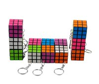 Wholesale 2015 New Arrival Magic Cube buckle CM Novelty Keychain Puzzle Magic Game Toy Children Educational Toys Kids Keychain