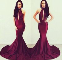 Wholesale Michael Costello Mermaid Evening Gowns Elegant Burgundy Women Long High Neck Backless Formal Dresses Prom Dresses BO6082