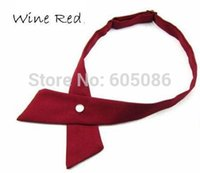 Wholesale crossover solid color wine red butterfly bow tie knot men s necktie women s neck ties ascot