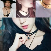 acrylic tube singapore - black leather necklace elegant Fashion Long Rope collier femme Tube False choker Collar Necklace for women Gothic jewelry black necklace