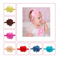 Wholesale Baby Girls Solid Color Bowknot Elastic Headbands Handmade Ribbed Bow Girls Headdresses Children Fashion Hair Accessories Colors DH16041