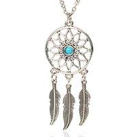 Wholesale 2016 New fashion Dream catcher silver chain necklace colgante collier sautoir long necklaces pendants choker necklace collares