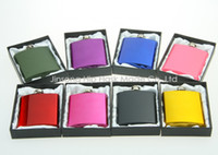Wholesale Color coated oz stainless steel hip flask in black gift box packing white silk lined