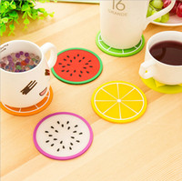 Wholesale 7 KINDS Colorful Jelly Color Fruit Shape Coasters Creative Skid Insulation Silica Gel Cup Mat XH05101