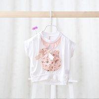 Wholesale 2016 new fashion style summer dresses cute baby bats short sleeved T shirt Ribbit girls T Shirt