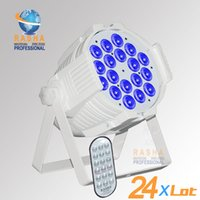 auto aluminum - 24X RASHA HEX Hot W in1 RGBAW UV Wireless IR Remote Control LED Par Light Aluminum Wiifi LED Par64 Can For Disco Party Stage Event