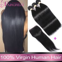 Wholesale 7A Malaysian Straight Human Hair Bundles With Closure Bundles Maylasian Human Hair Bundles With Closure Straight Hair Weave With Closure