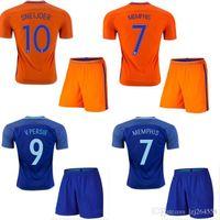 adult football uniforms - Top thai Netherlands adult soccer jerseys kits Uniforms Maillot de foot MEMPHIS ROBBEN SNEIJDER v PERSIE home away Holland football