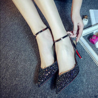 beautiful brand shoes - U X Brand Summer Pumps Women Dress Shoes PU Leather Beautiful Glitter Party Pointy Shoes Stiletto Heels