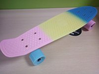 Wholesale 22 inchs Fade Pastel Three color rainbow Penny style Skateboard Complete four wheel Long board Cruiser skate board