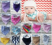 Wholesale Baby Bandana Bib Drool Bib Blue Navy Hickory Stripes Purple Denim Solid Scarf Burp Cloth Newborn Bib Boy Girl Super Soft Cotton M14