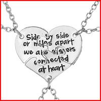 3 partes que son hermanas rotos corazón Nekclace colgante para las mujeres placa de plata de joyería de moda mejor amigo collar de regalo de Navidad 161580