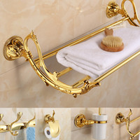 bathroom decorating accessories - Golden Leaf Decorated Bathroom Hardware Set European Antique Wall Mounted Polished Finished Soild Brass Bathroom Accessory Sets