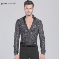 Wholesale Samba Dancing Clothes - D084 - Latin Male V Neck Long Sleeve Glitter Latin Dance Shirt for Men Samba Dance Costumes Tango Samba Costume Dance Clothes Latin Shirts