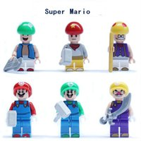 achat en gros de jeux de brique de construction de jouets-6pcs / lot Super Mario Building Blocks Figures sets Bricks Toys Super Mario Sundance Kid Game personnage jouets