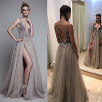 Wholesale Sexy Beads Thigh Split Evening Dresses Plunging Neckline Appliques Backless Prom Gowns Floor Length Tulle Evening Party Dress