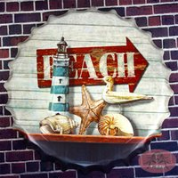 beach posters - Vintage metal painting Beer cap quot Beach quot Tin signs movie poster Art Cafe Bar wall stickers home decor cm RD