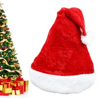 Wholesale New Christmas Cosplay Hats Thick Ultra Soft Plush Santa Claus Hat Adult Ordinary Christmas Hats for Party Props Xmas Ornaments Gift FPS_00M