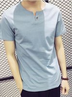 Wholesale Men s short sleeve T shirt simple V neck solid color fishtail