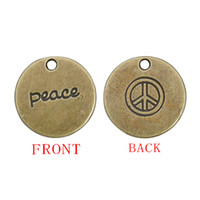 Slides, Sliders antique sign letters - 19mm Round Antique Bronze Plated Peace Pendant Charms Double Sided With Peace And Peace Sign Stamped AAC181