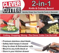 kitchen knives set - 2016 Trendy Clever Cutter in Knife Cutting Board Scissors Steel Kitchen Food Cutter for Meat Vegetable