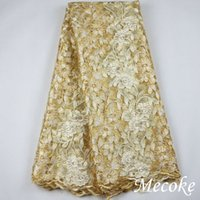 Wholesale hot Tulle French Embroidered mesh lace Fabric yellow color African Lace Fabric High Quality Guipure lace for african wedding