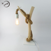 Wholesale American country Modern Shabby Chic Gloss Tree Branch Design Table Lamp White Nature Wooden Base Hemp Rope Desk Lamp beside lamp