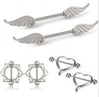 Wholesale 12pcs Mix Design Body Piercing Jewelry Angel Wing Heart Love Flower Nipple Ring Nipple Shield Rings Bar Barbell