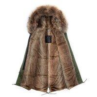beaver jackets - Korean design long style faux beaver rabbit lined real collar army green coats brown fur jacket men
